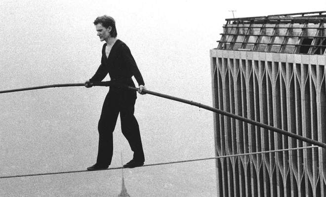 Philippe Petit doing the impossible.