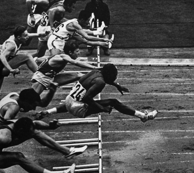 Hayes Jones in the 110- meter hurdles finals, from the book