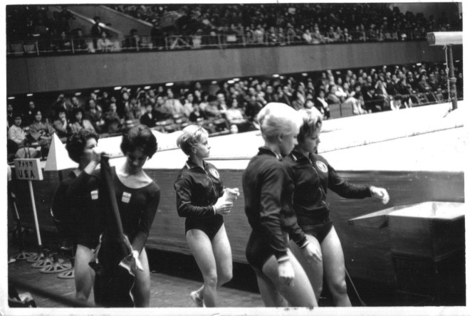 Team USA getting read to compete at the 1964 Olympics, from Dale McClements Kephart's personal collection