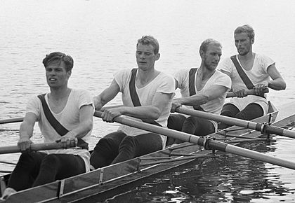 Left to right - Bjørn Borgen Hasløv, Kurt Helmudt, Erik Petersen and John Ørsted Hansen_gold medal coxless fours 1964