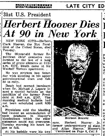 Hoover Dies 1964