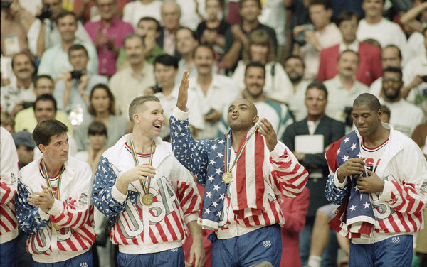barkley and johnson draped in american flag