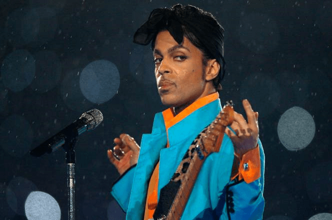 Prince performing in the rain at Super Bowl XLI