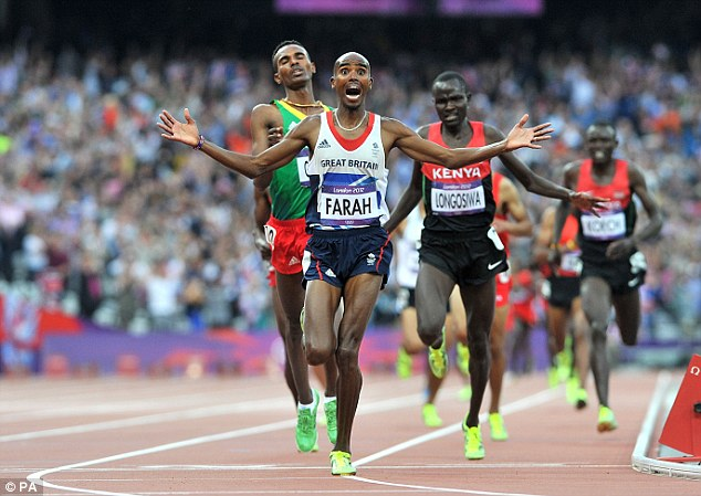 Farah winning 5k at 2012 London Olympics
