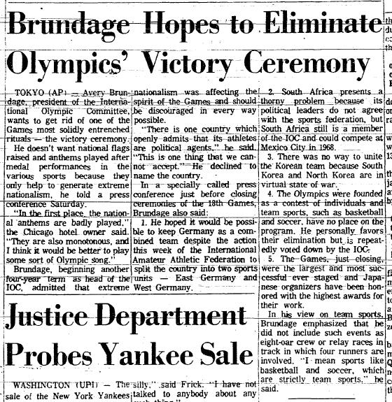 Brundage hopes to eliminate olympics victory ceremony