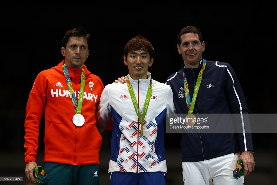 Imre Park on the medals podium