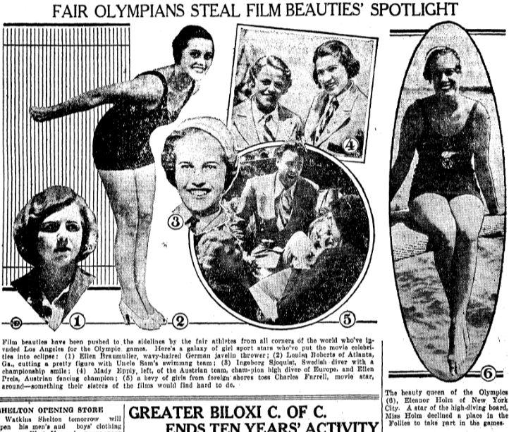 Eleanor Holm 1932 Olympic beauties