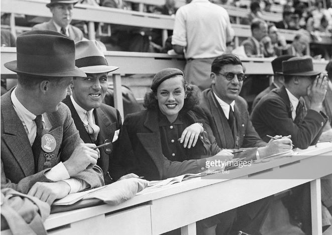 Eleanor Holm at the press gallery at the 1936 Berlin Olympics