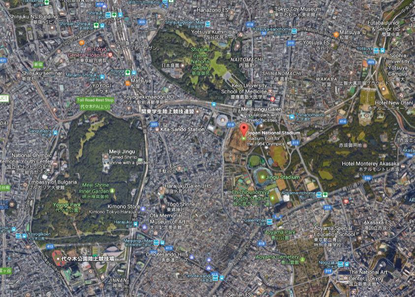 National Stadium and Meiji Shrine_google maps