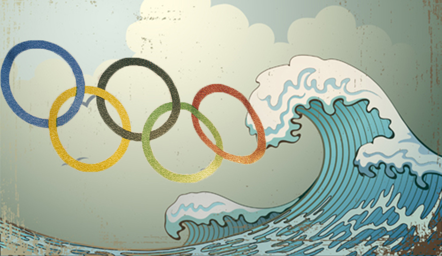 Surfing Hokusai waves olympic rings