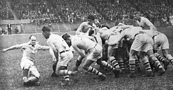 American Rudy Scholz closes down France_s Henri Galau during the infamous 1924 Olympic Rugby final