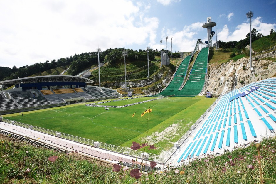 Alpensia ski jumping and football pitch