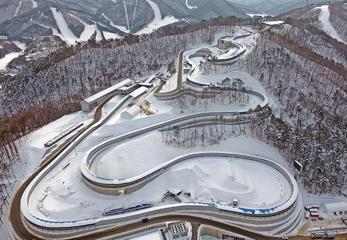 눈내린 동계올림픽 슬라이딩센터