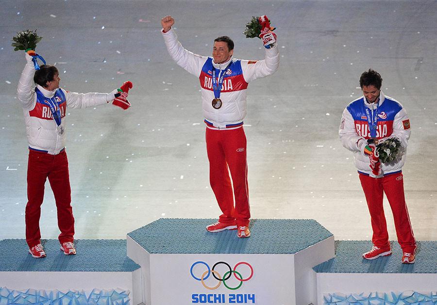 Maxim Vylegzhanin, Alexander Legkov, Ilya Chernousov, XXII Olympic Winter Games in Sochi