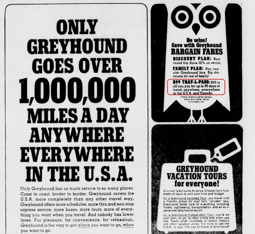 greyhound ad_99 for 99_bakersfield californian_1966_highlighted