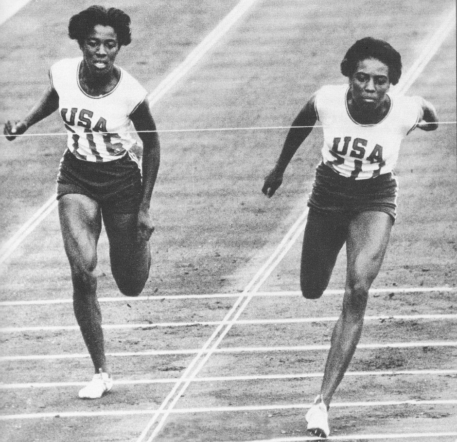 Edith McGuire and Wyomia Tyus in 100-meter finals_1964 Tokyo Olympics_The Olympic Century