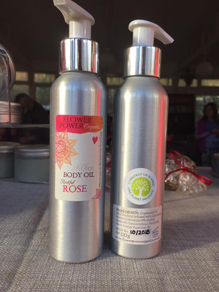 Body oil bottles with one planet produce label
