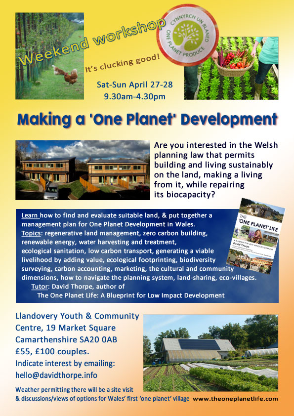 One Planet Developmen tweekend workshop poster
