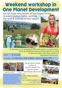 One Planet Development weekend workshop poster in Ty Derwen, July 2021