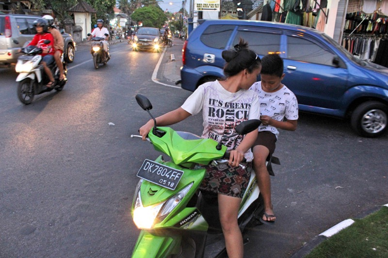 Texting on motorbike