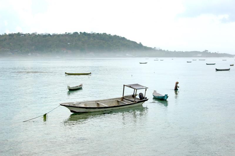 Ships of seaweed farmers ceningan island