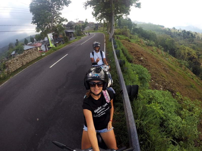 During the motorbike trip around Bali.