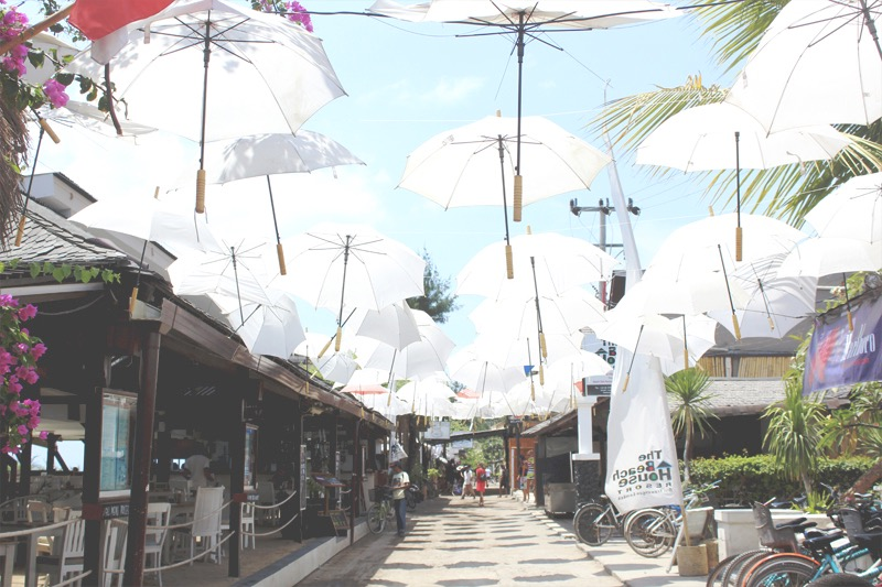 Umbrellas at the main stripe, east coast Gili Trawangan