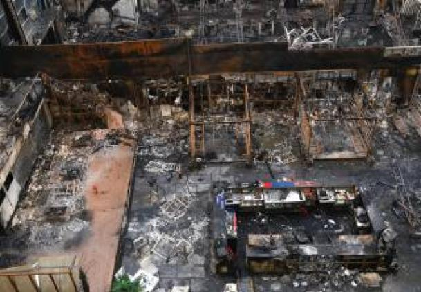 A general view of the restaurants destroyed in a fire in Mumbai