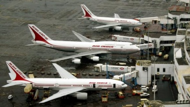 An aerial view of Air India aircrafts parked at Bombay airport.