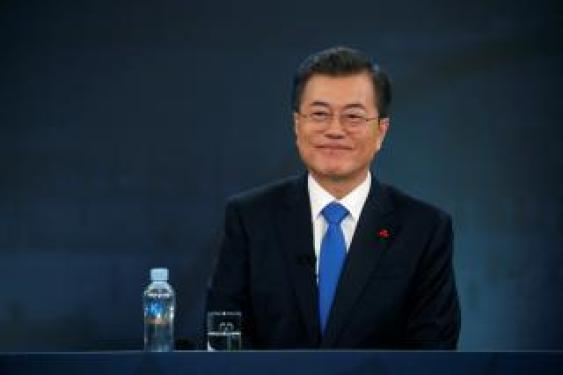 South Korean President Moon Jae-in attends his New Year news conference at the Presidential Blue House in Seoul