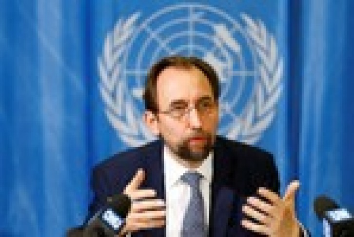 FILE PHOTO - U.N. High Commissioner for Human Rights Zeid Ra'ad al-Hussein of Jordan speaks during a news conference in Geneva