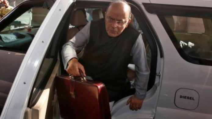 India's Finance Minister Arun Jaitley holds his briefcase as he arrives at the parliament to present the federal budget in New Delhi