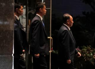 North Korean envoy Kim Yong Chol (R), departs from a meeting with U.S. Secretary of State Mike Pompeo in New York