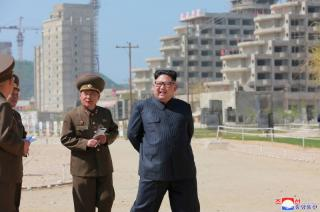 "North Korean leader Kim Jong Un inspects the construction of the ""Wonsan-Kalma shore Tourist Zone"""