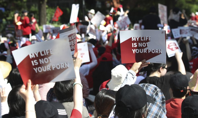 women protesters in south korea-AP
