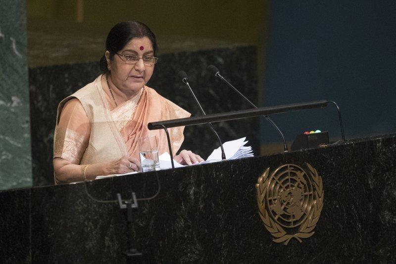 Indian minister for external affairs, Sushama Swaraj-AP