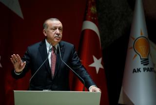 Turkish President Erdogan speaks during a meeting of his ruling AK Party in Ankara