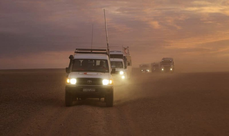 Convoy of vehicles of Syrian Arab Red Crescent-AP