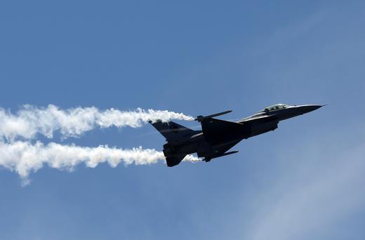 Pakistan Air Force (PAF) Sherdils (Lion Heart) squad's fighter jet F-16