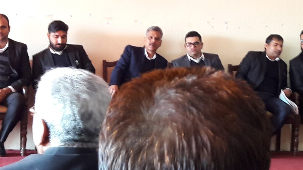 The Jammu Lawyer's body, Jammu Bar Association convened the General House Meeting on Monday December 2, 2019. The meeting was convened in wake of on going indefinite strike pushing the issues of restoration of powers of registration of documents back to the Judicial officers. The President of the bar Sh. Abhinav Sharma along with other office bearers seen on the dais.