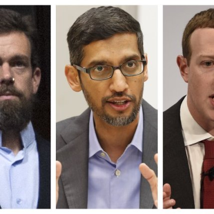 This-combination-of-2018-2020-photos-shows-from-left-Twitter-CEO-Jack-Dorsey-Google-CEO-Sundar-Pichai-and-Facebook-CEO-Mark-Zuckerberg-AP