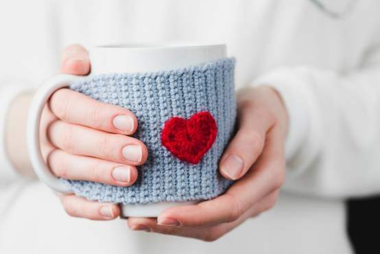 Knitting, crochet, mug, heart, side hustle, etsy, make money, handmade