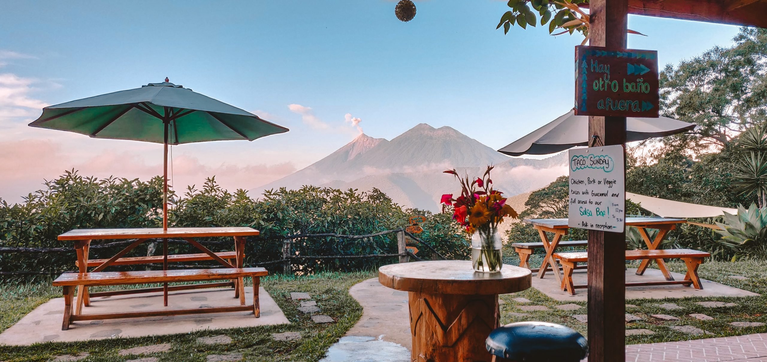 Terrace view | Earth lodge Antigua | The Orange Backpack