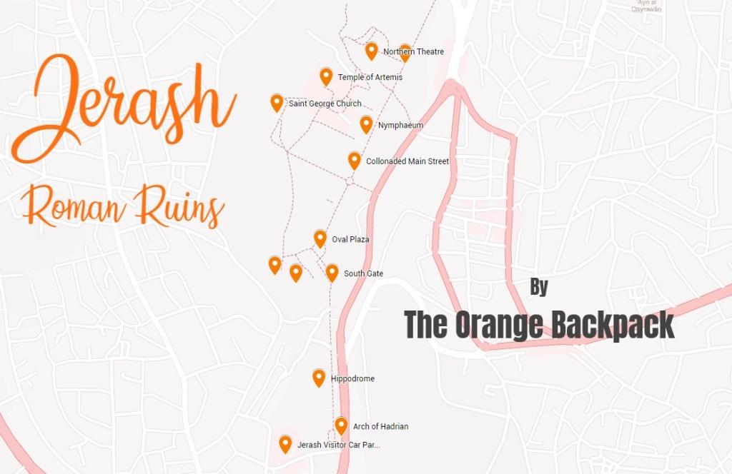 Jerash Roman Ruins Jordan Practical Map