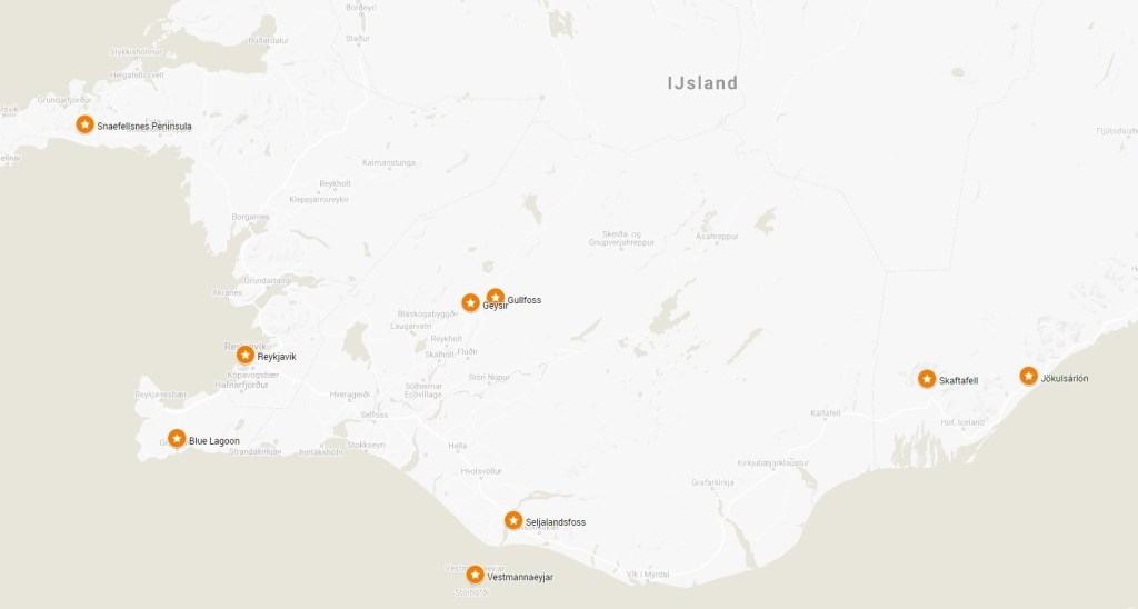 Iceland Attractions Map