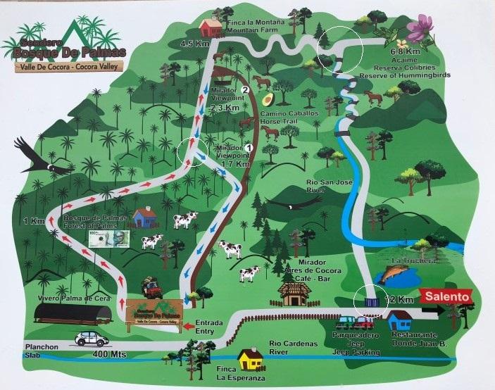 Valle de Cocora Map Kaart markeringen