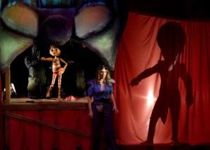 Puppet (Rudy Martinez, with puppeteers Lisa Dring and Mark Royston), Blue (Nina Silver) and the Fire Eater (Paul Turbiak). Photo by Chelsea Sutton