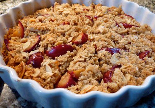 plum and almond flapjack