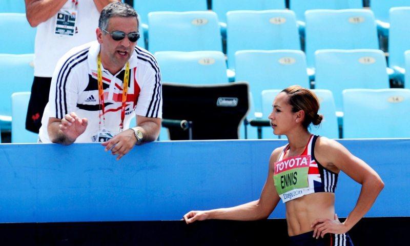 Toni Minichiello talking to Jessica Ennis Hill