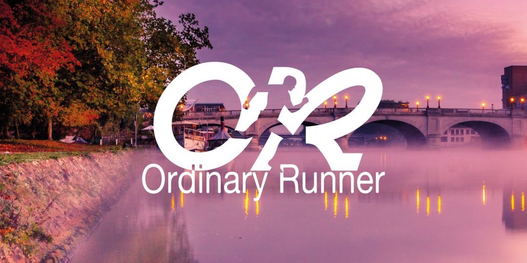 Kingston bridge from the Hampton Wick side overlaid with the Ordinary Runner logo